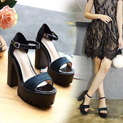 tacón de de alto black UE sandalias de Sandalias mujeres elegante alto RUGAI color sencillo tacón pEtfqx4nwA