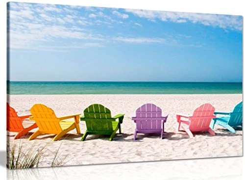 Beach Chairs Canvas Wall Art Picture Print 36x24in