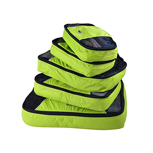 GOX Ultra Light 5 piece Packing Cubes Travel Luggage Organizers With Laundry Bag 1 Large 2 Medium 2 Small (Green)