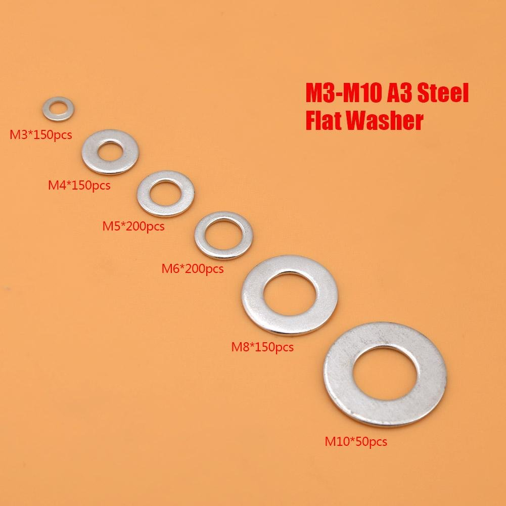 Steel Flat Washer,900pcs M3-M10 A3 Plain Washers Assortment Kit with Box for Distribute Load of Threaded Fastener