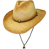 Distressed Classic Straw Cowboy Hat With Chin Cord