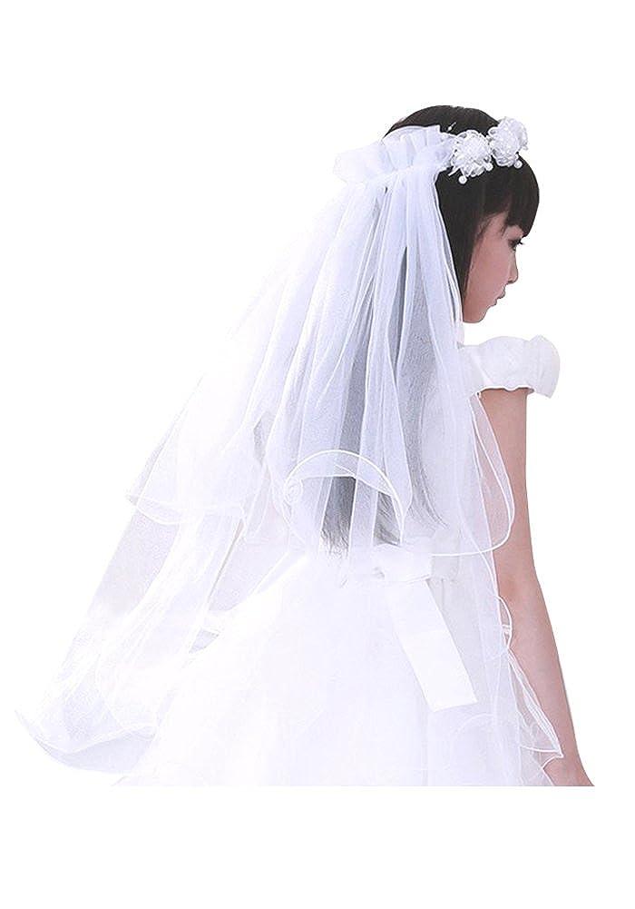 Flower Girls Veil//Little Girls Lovely First Communion Decoration veil BG0108