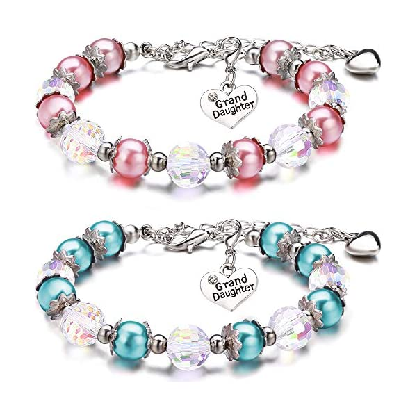 2 Pieces Granddaughter Bracelets Charm Heart Pendant Rhinestone Crystal Balls Faux Pearls Jewelry Gift