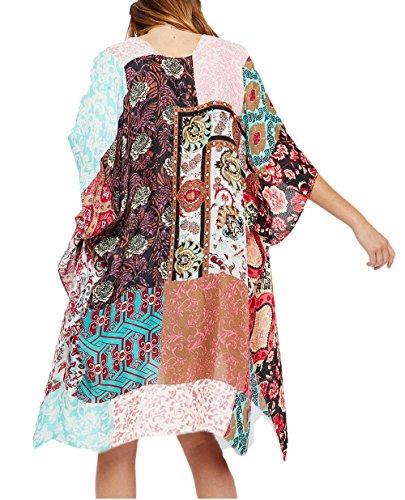 Bsubseach Women's Ethnic Print Kimono Cardigan Summer Beachwear Swimsuit Cover Up Rayon Shawl Wrap Beachwear Tunic