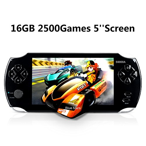"Handheld Game Console, Portable Video Game Console 16GB 5"" Screen 2500 Classic Games, Supports Multiple File Formats, Best Birthday and New Year Gifts for Kids – Black"