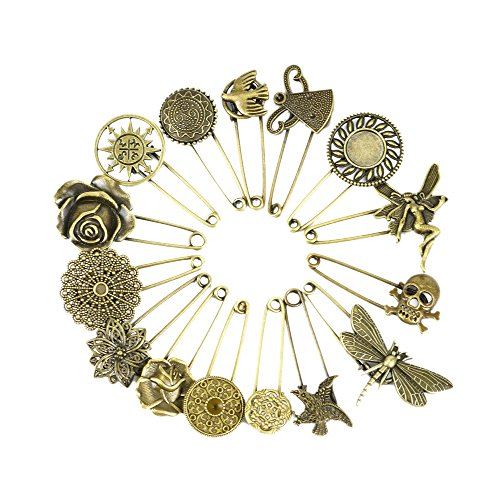 Wisehands 15 Pcs Bronze Vintage Hijab Pins /Brooch Pins/Safety Pins, Made of Zinc Alloy