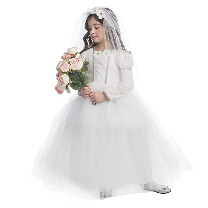 Dress Up America Bridal Princess Costume Pretty Little Wedding Dress  Costume for Girls by