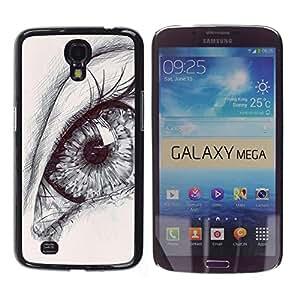 FlareStar Colour Printing Eye Drawing Pencil Art Deep Pupil Sketch cáscara Funda Case Caso de plástico para Samsung Galaxy Mega 6.3 / i9200 / SGH-i527