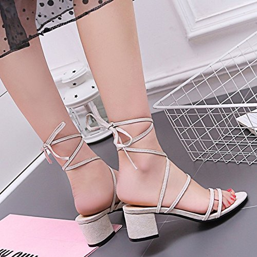 Fashion COOLCEPT Toe Beige Open Up Heel Block Shoes Slingback Women Lace Sandals qrx5qCP