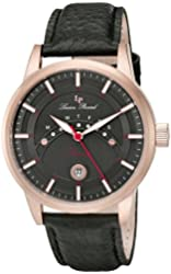 Lucien Piccard Men's 'Sorrento' Quartz Stainless Steel and Black Leather Casual Watch (Model: LP-10154-RG-01)