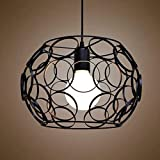 Industrial Cage One-light Pendant Light-LITFAD 12.6″ Retro Black Finished Vintage Hanging Pendant Lamp Ceiling Pendant Fixtures Circles Design K For Sale