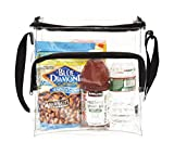 Large Lunch Bag | NFL & PGA Stadium Security Approved Clear Lunch Box With Adjustable Strap & Front Zippered Pocket | Thick - Easy To Clean & Water Resistant Tote Bag| Great For Men - Women & Kids