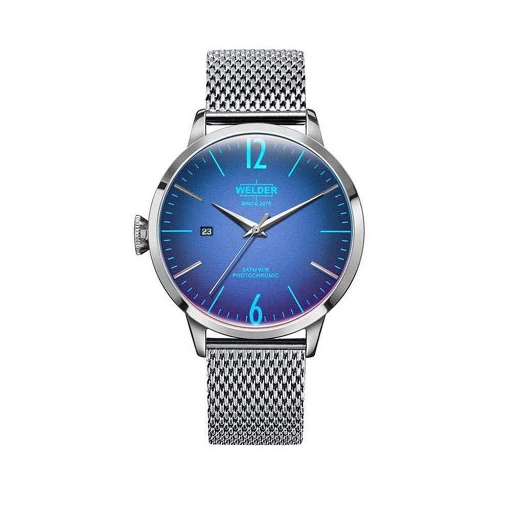 Soldador Moody Malla de Acero Inoxidable 3 Mano Reloj con Fecha 45 mm: WELDER: Amazon.es: Relojes