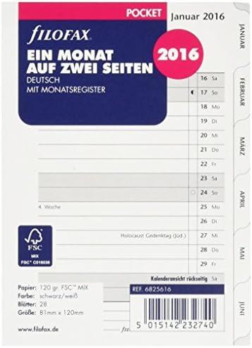 Filofax 6825616 Pocket 1 Monat auf 2 Seiten tabbed, deutsch 2016 Kalendereinlage, weiß