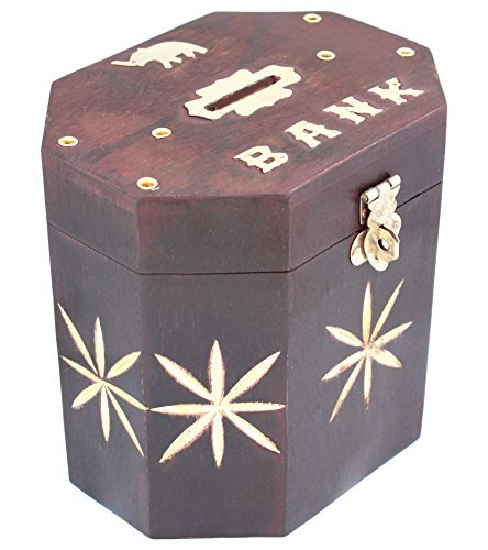 ITOS365 Handmade Wooden Black Money Bank Safe Kids Piggy Coin Box Gifts, 5 Inches (Best Way To Save Money In Bank India)
