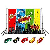 5 x 3ft Superhero City Photography Backdrop and Superhero Masks for Kids Birthday Party Decoration, Studio Superhero Photography Background