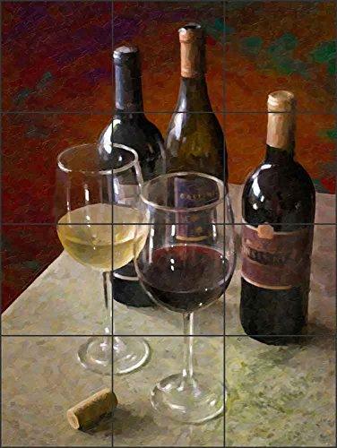 Artwork On Tile Ceramic Mural Backsplash Wine for Two by David Miller - Kitchen Wine Cellar Wall (12.75'' x 17'' - 4.25'' tiles) by Artwork On Tile (Image #1)