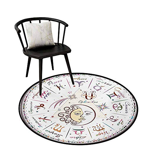 Non-Slip Mats Circular Carpet Mats Zodiac,Western Chart with All Signs Aries Virgo Leo Taurus Libra Mystique Fate Calendar,Circular Carpet Bedroom A Living Room Desk Seat Cushion Carpet 24