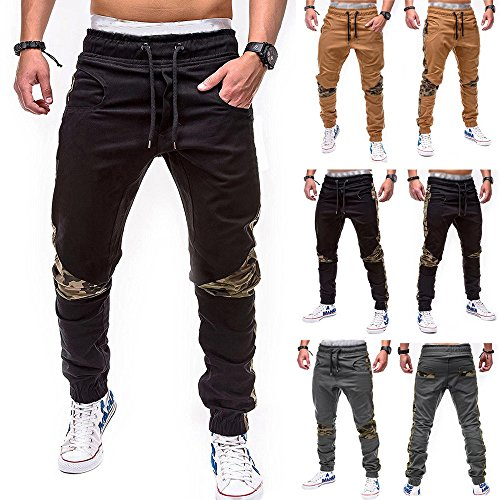 Farjing Men's Sweatpants Clearance,Men's Fashion Casual Loose Sweatpants Drawstring Pant Sport Camouflage Lashing Belts Pant(4XL,Black) by FarJing