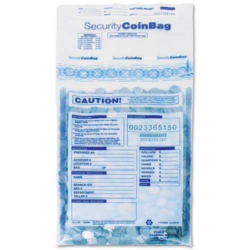 53860, Large Coin Deposit Bags, Clear - 12'' x 25''