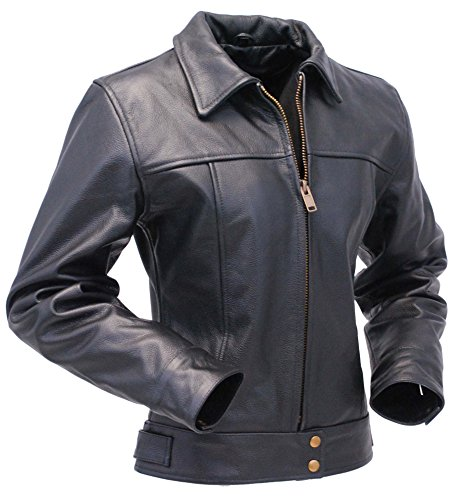 Leather Design Fashion Black Cowhide Heavy Cfd77 Jacket Lady Tough Celebrity dAYq5xwUA