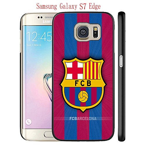 Samsung Galaxy S7 Edge Case, FC Barcelona Soccer Team Logo 108 Drop Protection Never Fade Anti Slip Scratchproof Black Hard Plastic Case