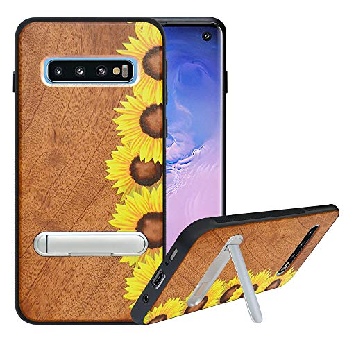 HHDY Compatible with Samsung Galaxy S10 Plus Case with Metal Kickstand, Hard Natural Wood Back with Flexible TPU Bumper, Anti-Scratch, Wooden Phone Case for Samsung S10 Plus, Sunflower