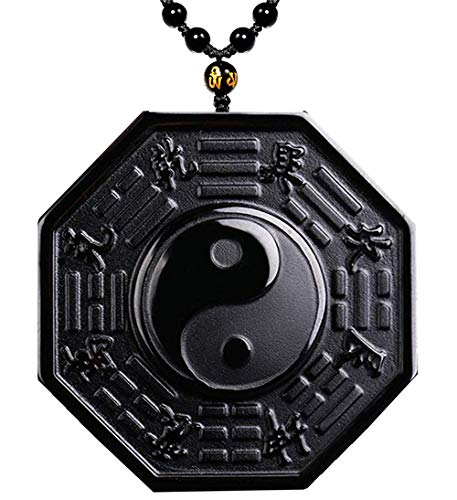 Mson Obsidian Pendant Necklace Obsidian Crystal Pendant Necklace Pattern with Extend Bead Chain for Men or Women (Tai Chi)