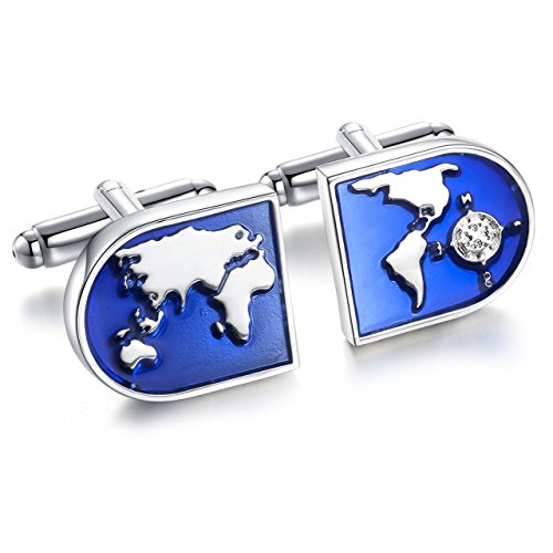 Areke Jewelry World Map Shirts Cufflinks for Men, Wedding Business Tuxedo Cuff Links Blue Silver Style 1 Pair