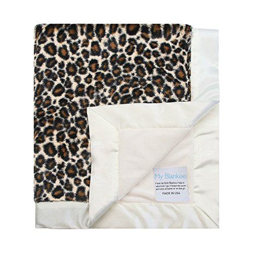 "My Blankee Baby Blanket, Leopard Luxe Brown with Minky Cream, 30"" x 35"""