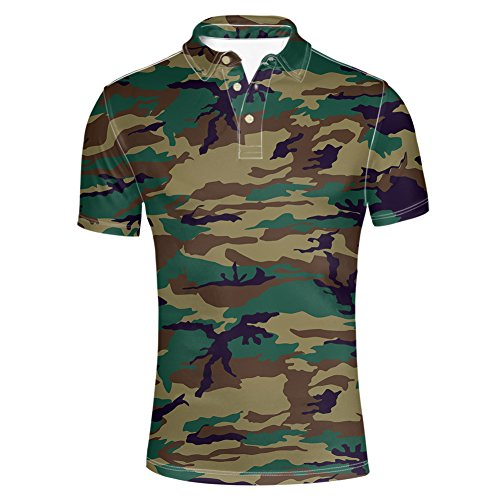 Instantarts Cool Army Green Camouflage Print Men's Jersey Polos Shirt L -