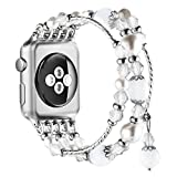 Simpeak Band Compatible with Apple Watch 42mm 44mm, Fixed Size 5.7-6.9 inch,Handmade Fashion Beaded Elastic Bracelet Band Replacement for Apple Watch Series 5/4/3/2/1, White