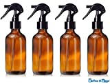 4 Oz Amber Brown Glass Bottle with Black Trigger Sprayer for Essential Oils (4 Pack) by Bottles N Bags