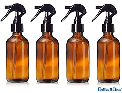 f29591d3f6a1 4 Oz Amber Brown Glass Bottle with Black Trigger Sprayer for Essential Oils  (4 Pack) by Bottles N Bags