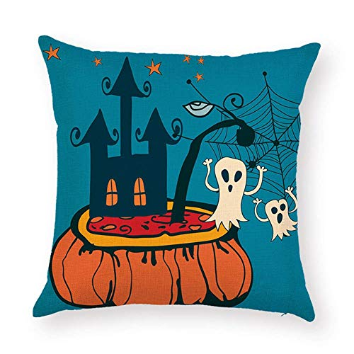SPXUBZ Halloween White Ghosts Pumpkin Soup Castle Star Spiderweb Spider Flax Throw Pillow Cover Home Decor Nice Gift Square Indoor Linen Pillowcase Standar Size:18x18 in (Two Sides)]()