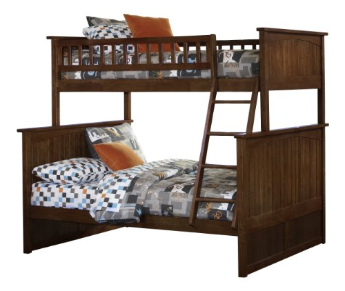 Antique Walnut Bunk Bed (Nantucket Bunk Bed, Twin Over Full, Antique Walnut)