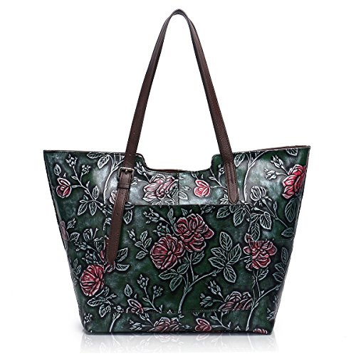 Leather Bag Embossed Shoe (APHISON Designer Unique Embossed Floral Cowhide Leather Tote Style Ladies Top Handle Bags Handbags C812 (Green))