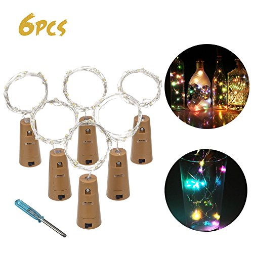 Christmas Lights Tree Toppers - LED Cork Lights Wine Bottle Lights with Cork Copper Wire 15LED Bulbs 59 Inches / 1.5 m for Party Wedding Concert Festival Christmas Tree Decoration 6 pcs(RGB)