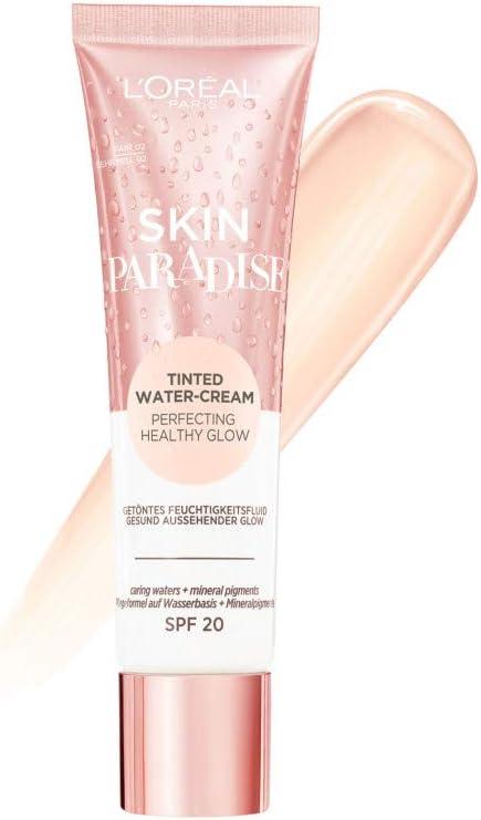 L'Oreal Paris Make-Up Designer Skin paradise Water-Cream Hidratante con Color y Spf 20, Tono Piel Claro Fair 02 42.5 g