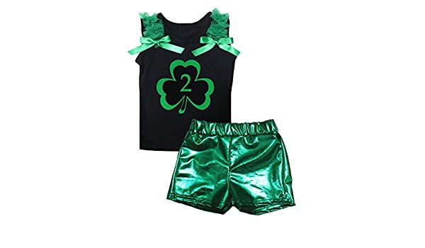 Petitebella 2nd Clover Black Cotton L//s Shirt Green Bling Short Set 1-8y