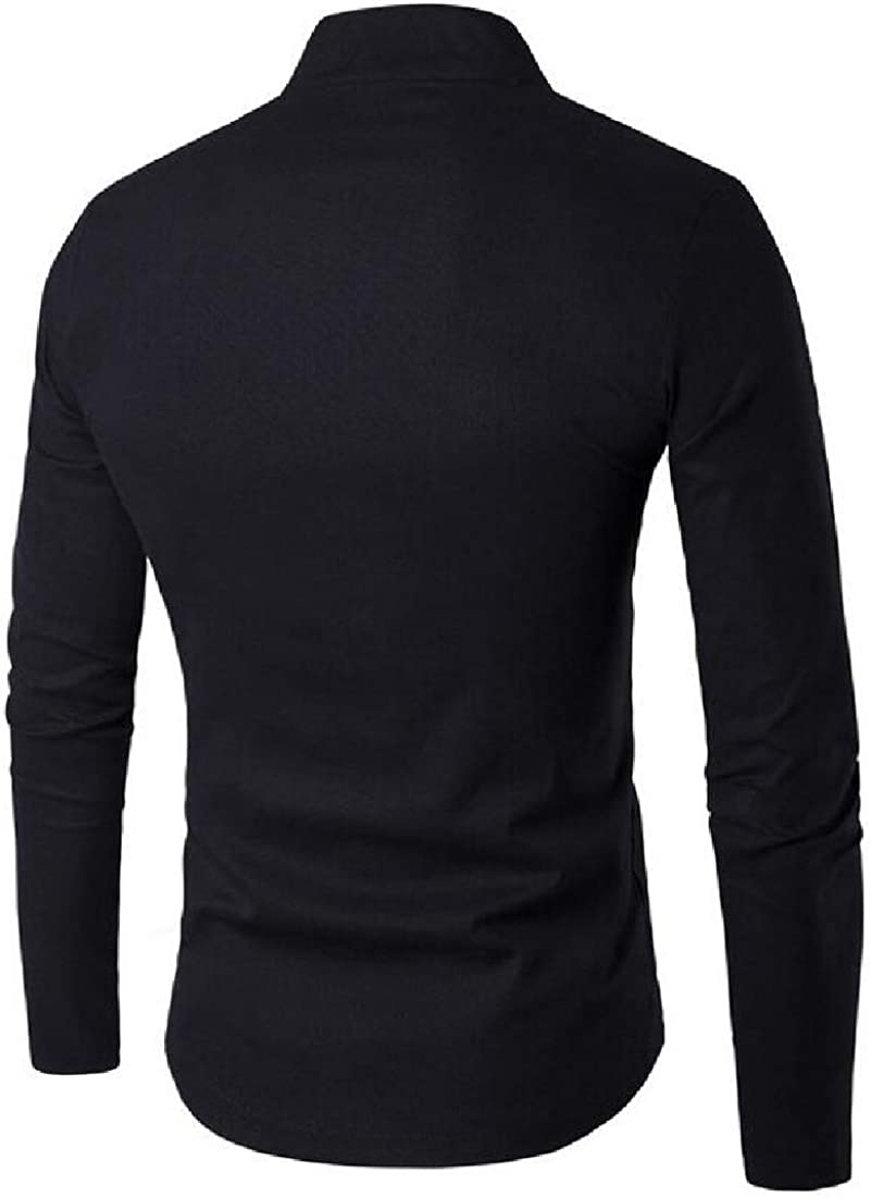 KLJR Men Long Sleeve Slim Fit Solid Color Stand Collar Chinese-Style Casual Shirt