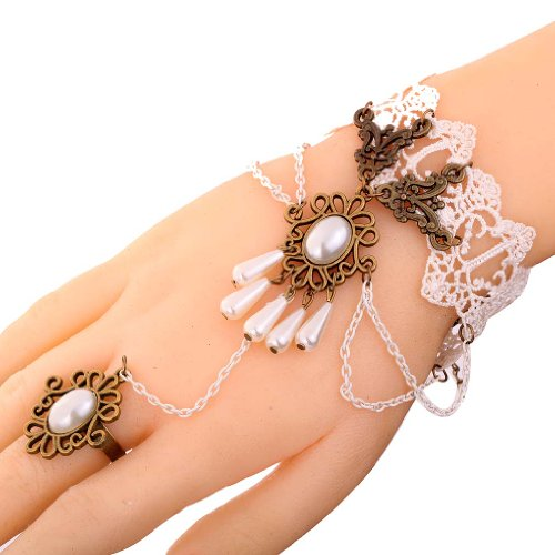 Yazilind Jewelry Noble Lolita Flower Acrylic Waterdrop Beads White Lace Slave Bracelets with Ring Wedding Party for Women