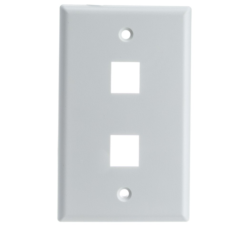 ACL ACL-527153 Keystone 2 Port, Single Gang Wall Plate, White, 100 Piece