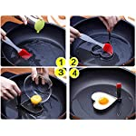 Fried Egg Mold Ring, Pancake Cooker Nonstick Stainless Steel Set Of 5PCS with Free Gift of Silicone Pastry Brush and Egg Yolk Separator For Frying Cooking, Kitchen Cooking Tools for Kids and Lovers 9 PREMIUM QUALITY-- Our egg molds are made of food grade stainless steel 18/8 with passed FDA certification ,and fully surgical-graded stainless-steel interior and outside , which gives it a brilliant, durable, rust-resistant finish that is easy to maintain, and will last a lifetime.Egg mold also come with Egg Yolk Separator and a premium silicone basting brush that adds and spread out all of your flavorings! ENJOY A FUN BREAKFAST--5PCS Different Shapes Fried Egg Ring Set: Star; heart; Round; Plum Flower; Mickey. Avoid boring. Special design for cooking eggs or pancakes for your lover as well as your family. MULTI-PURPOSE --Pancake Cooker ideal for families who want to make breakfast quickly and easily with eggs, pancakes, cookies, breakfast sandwiches, fritters, and even omelettes . Get the perfect fried egg! Easy to pop out of mould straight onto the plate in just a few minutes.