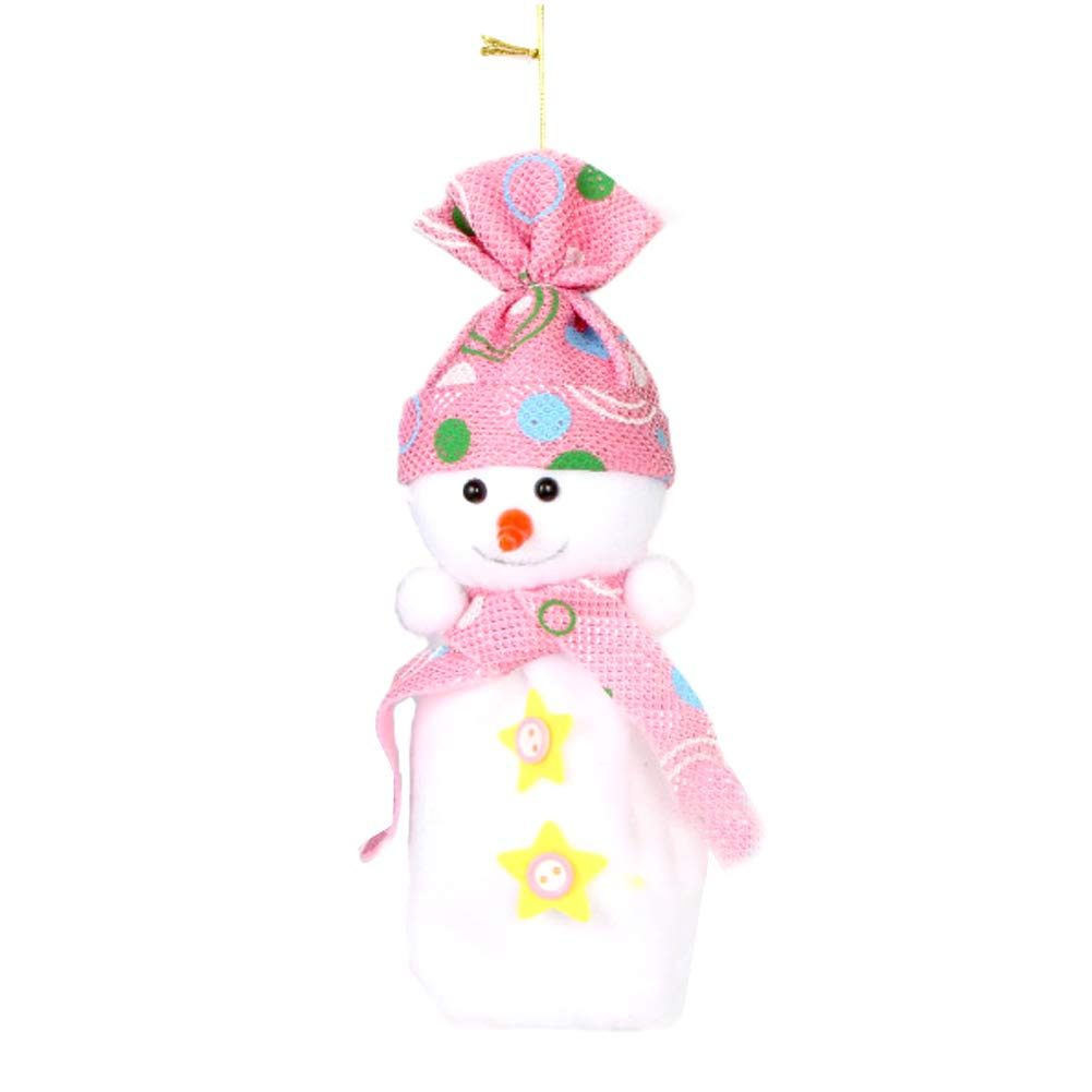 YaptheS Christmas Eve Cute Wrapping Snowman Shaped Candy Cookie Apple Bags Christmas Decoration Supplies-Pink Christmas Gift