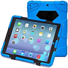 iPad Air 2 Case, iPad 6 Case, ACEGUARDER® [Shockproof] [Heavy Duty] [Military] Extreme Tough & Drop Resistance Soft Silicone Case with Kickstand for Apple iPad Air 2 (Blue/Black)