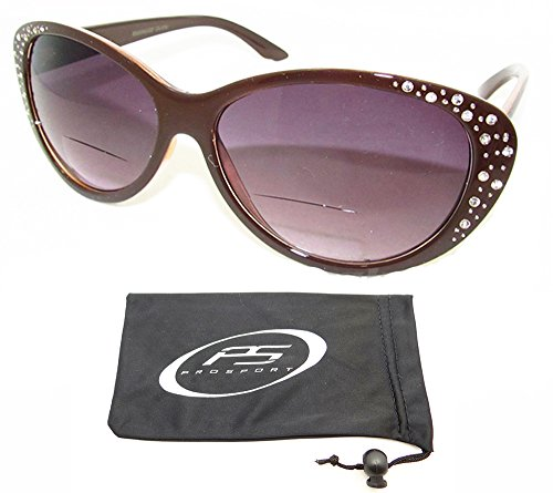 PRO Bifocal Sun Reader Sunglasses for Women. Brown Cat Eye frame with rhinestones styles with bifocal reading power 1.0 Free Microfiber Cleaning Case included. (Rhinestone Glasses Reading Brown)