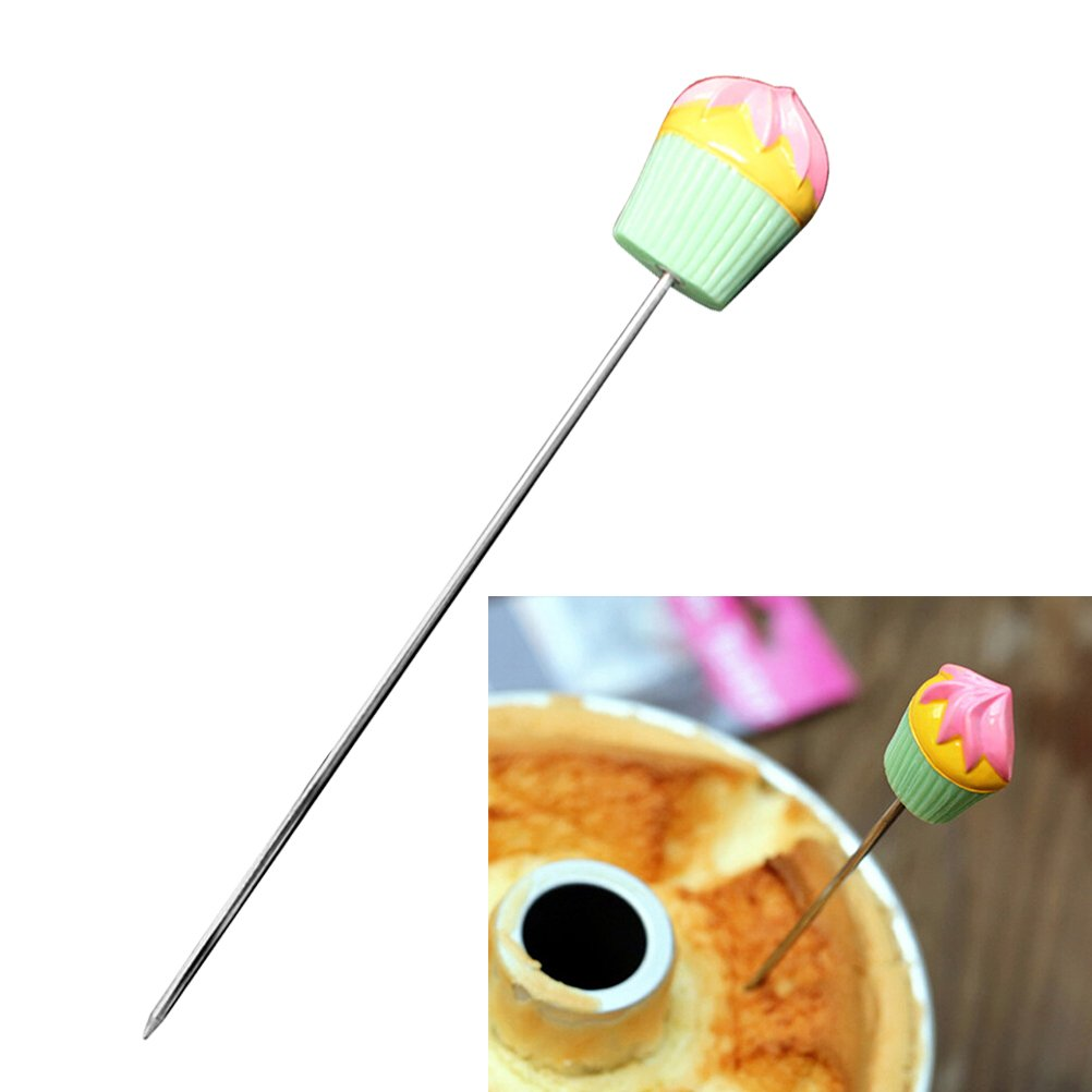 BESTONZON Stainless Steel Cake Tester Probe with Cute Cupcake Handle for Cake Bread Muffin Testing,Green