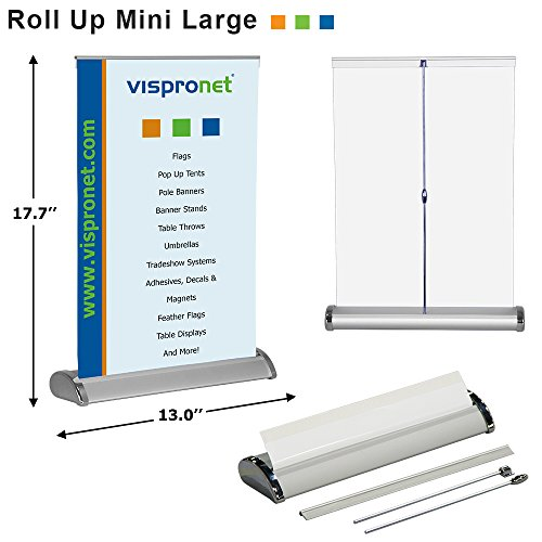 Vispronet - Mini Retractable Banner Stand - Table Top Display Stand - Portable Poster Stand - Fits 11.7in. x 16.5in. Banners - Offices and Retail Stores - Stand Only (Banner not Included) (Retractable Display)