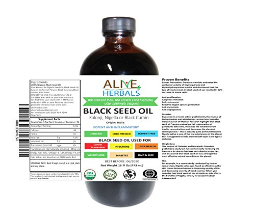 Alive Herbal Black Seed Oil Indian, Cold Pressed Organic -100% Raw, First Pressing, Unfiltered, Vegan & Non-GMO, No Preservatives & Artificial Color Amber Glass 16 OZ by Alive herbal (Image #3)